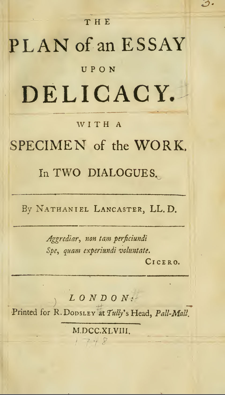 The Plan of an Essay Upon Delicacy, by Nathaniel Lancaster, 1748